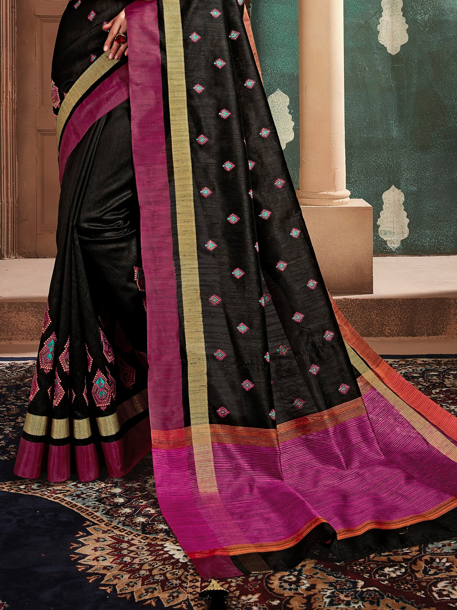 Black Cotton Embroidered Party Saree