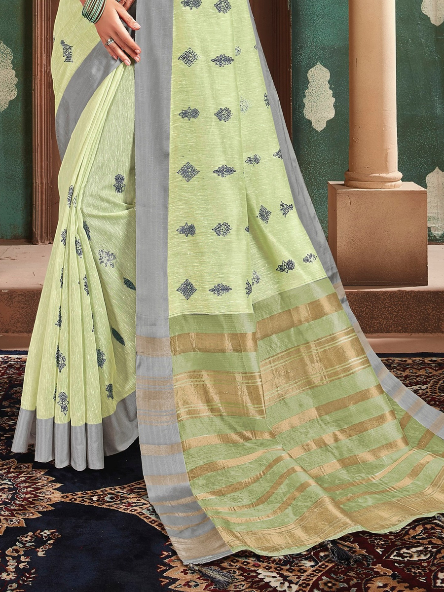 Moss Green Cotton Embroidered Party Saree