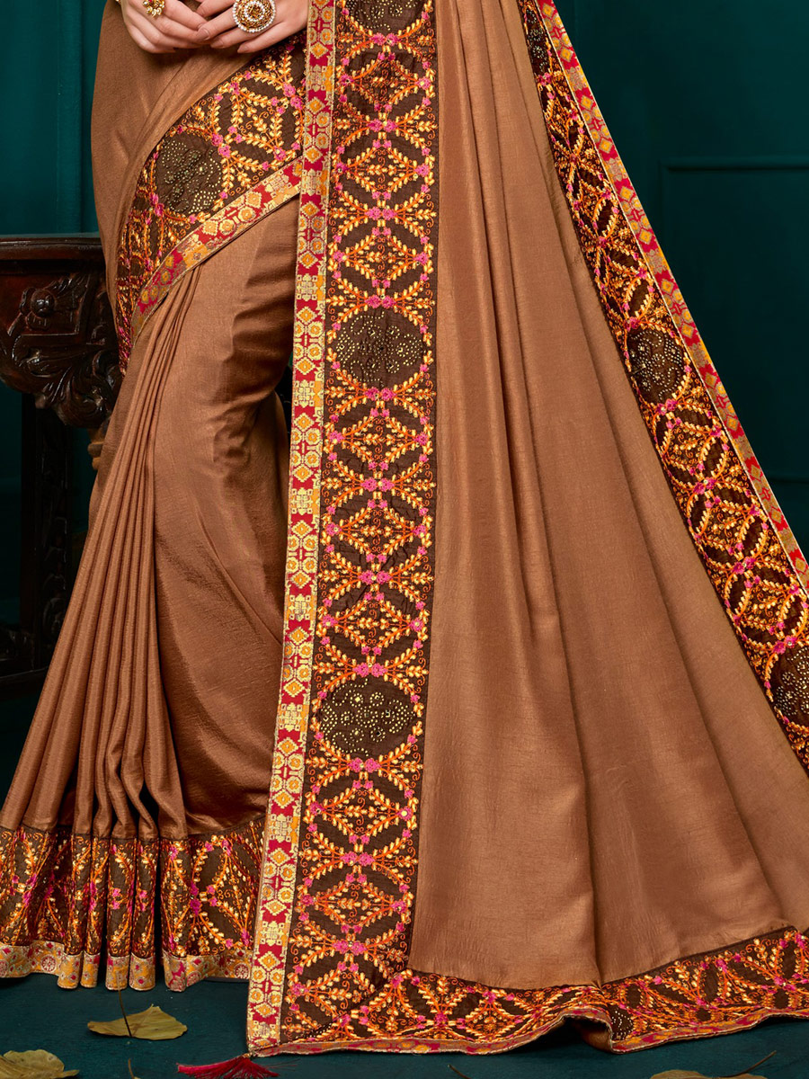 Copper Brown Poly Silk Embroidered Party Saree