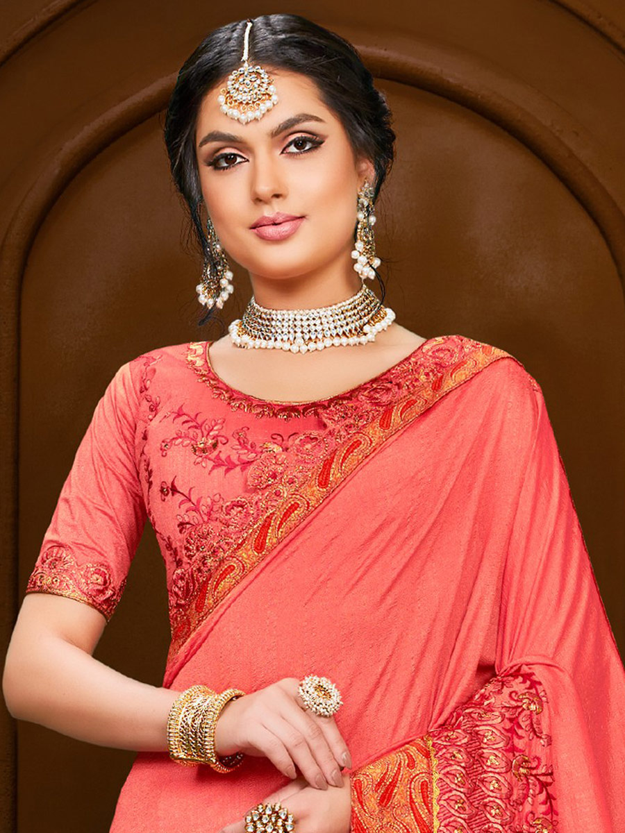 Brink Pink Poly Silk Embroidered Party Saree
