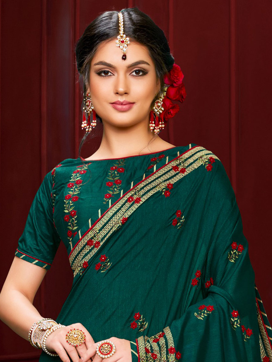 Midnight Green Poly Silk Embroidered Party Saree