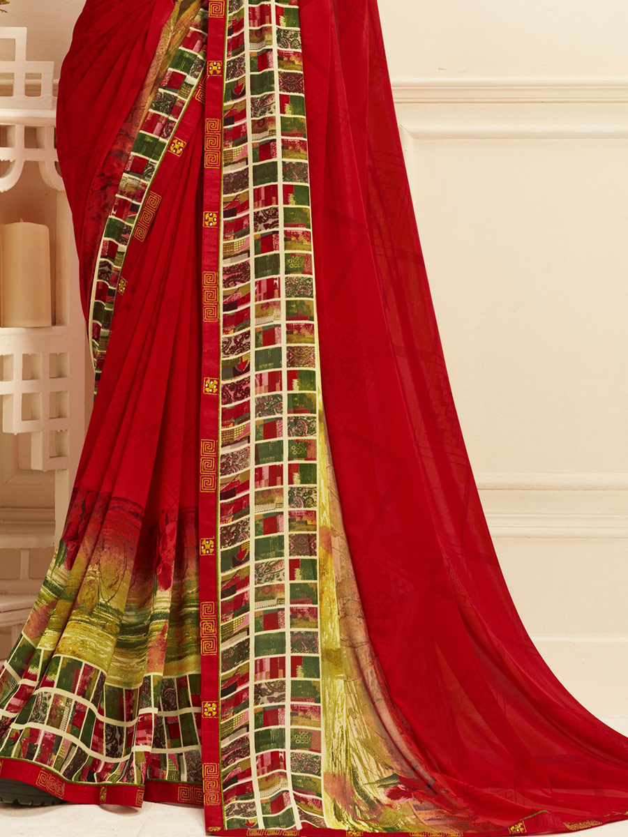 Venetian Red Faux Georgette Printed Casual Saree