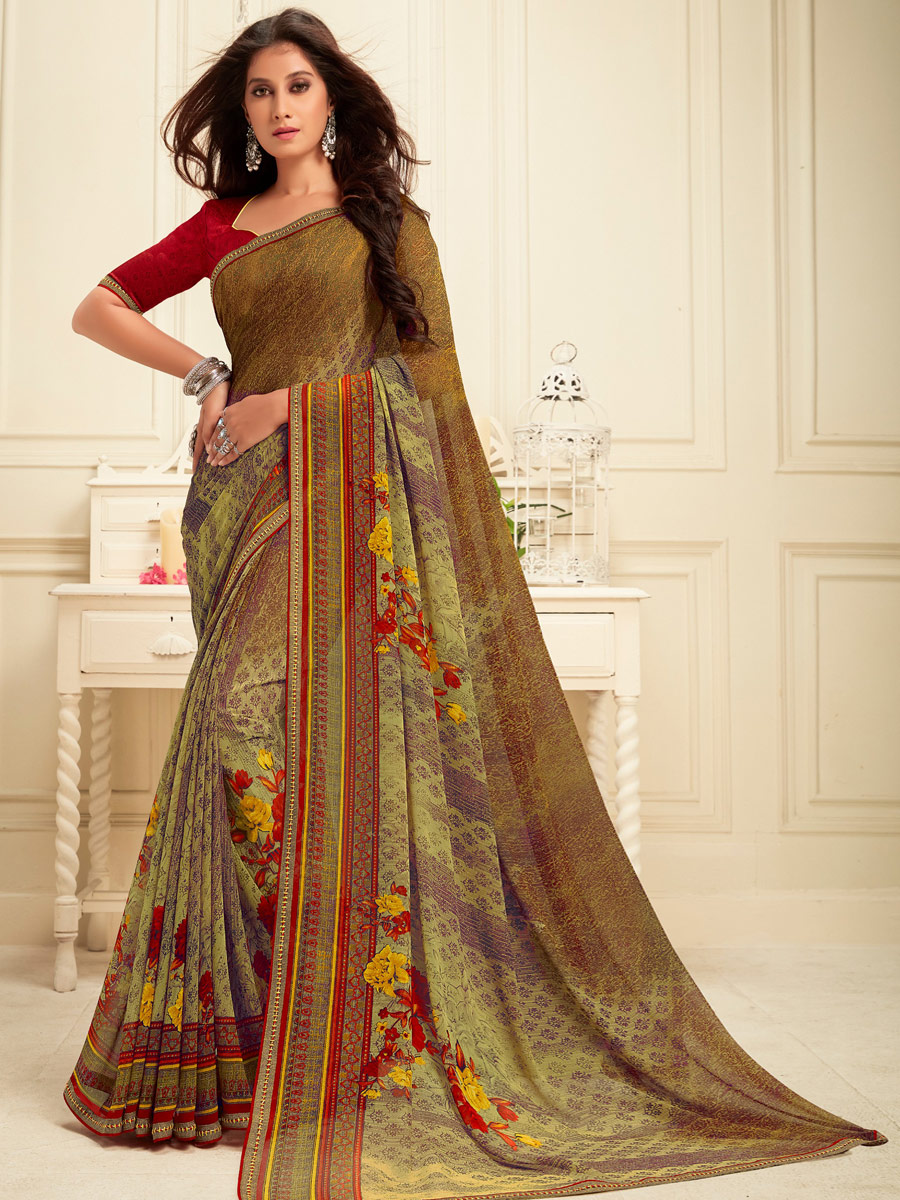 Asparagus Green and Brown Faux Georgette Printed Casual Saree