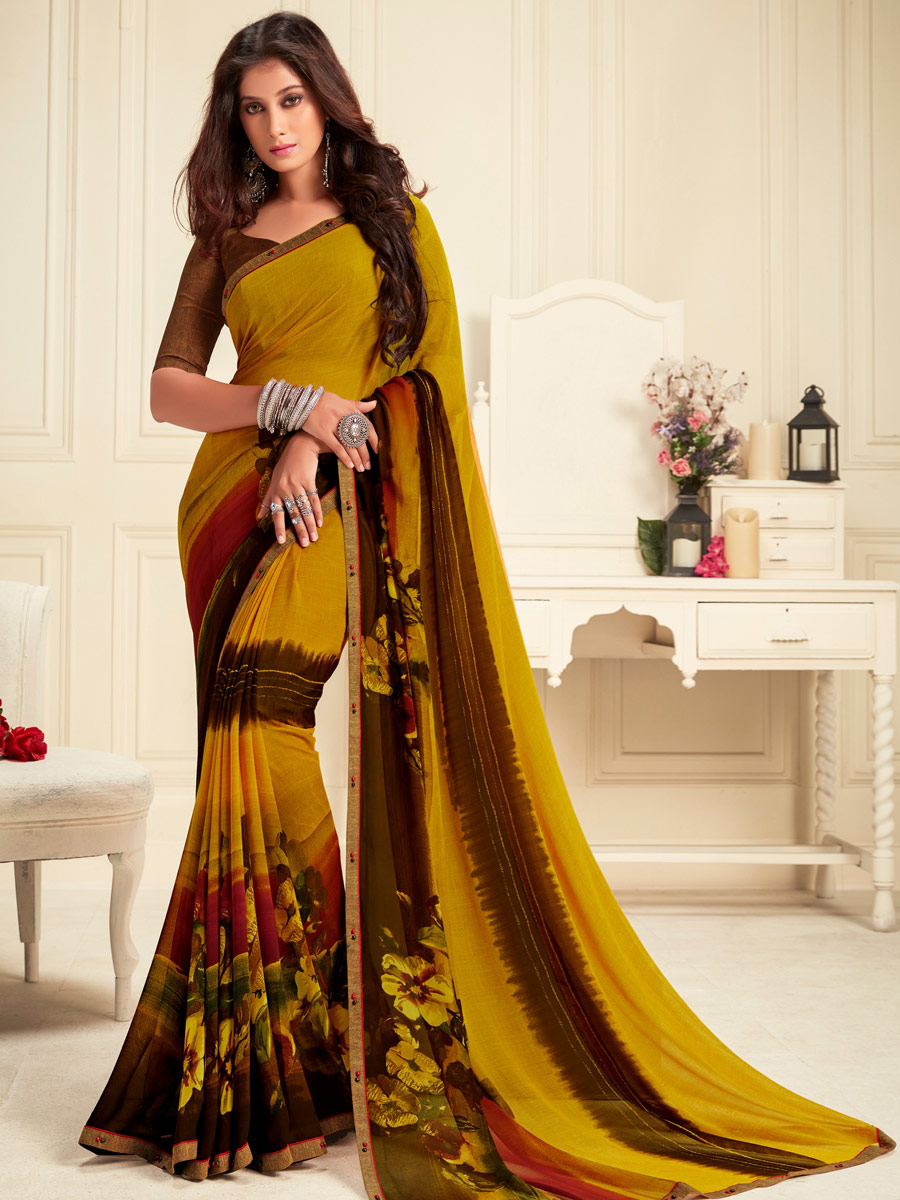 Metallic Gold Yellow and Auburn Brown Faux Georgette Printed Casual Saree