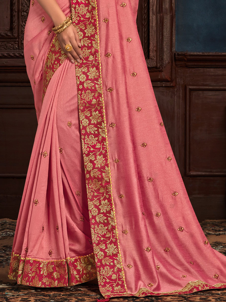 Thulian Pink Poly Silk Embroidered Party Saree