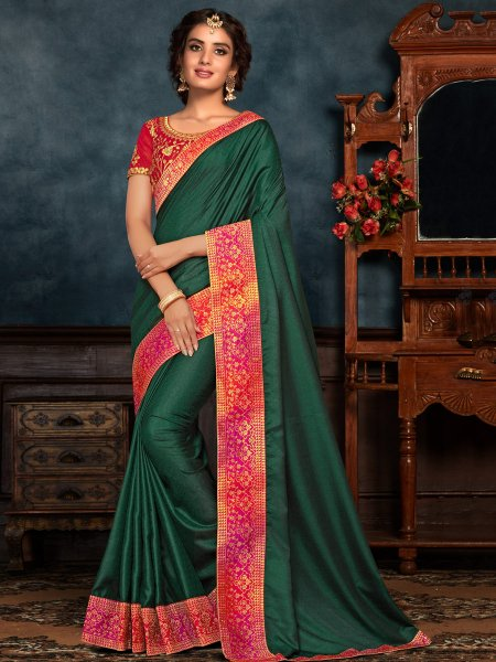 Hunter Green Poly Silk Embroidered Party Saree