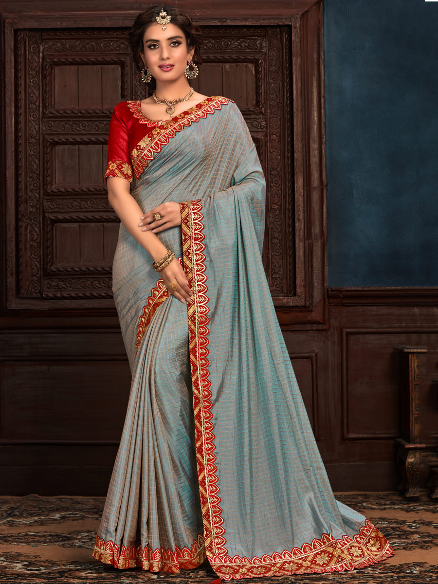 Steel Blue Poly Silk Embroidered Party Saree