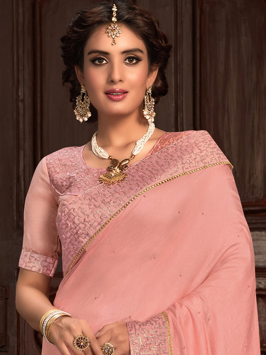 Light Pink Poly Silk Embroidered Party Saree