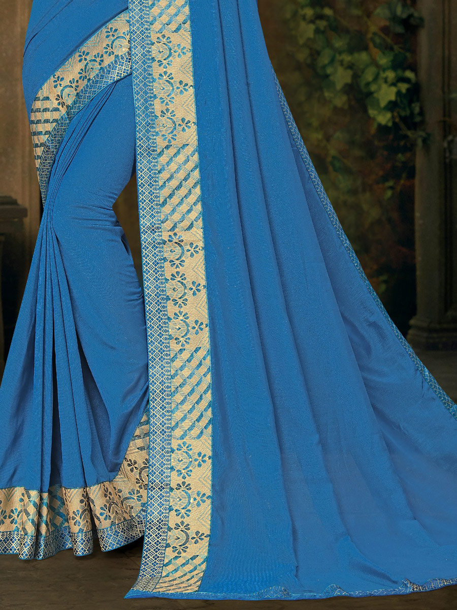 Cerulean Blue Vichitra Silk Plain Casual Saree