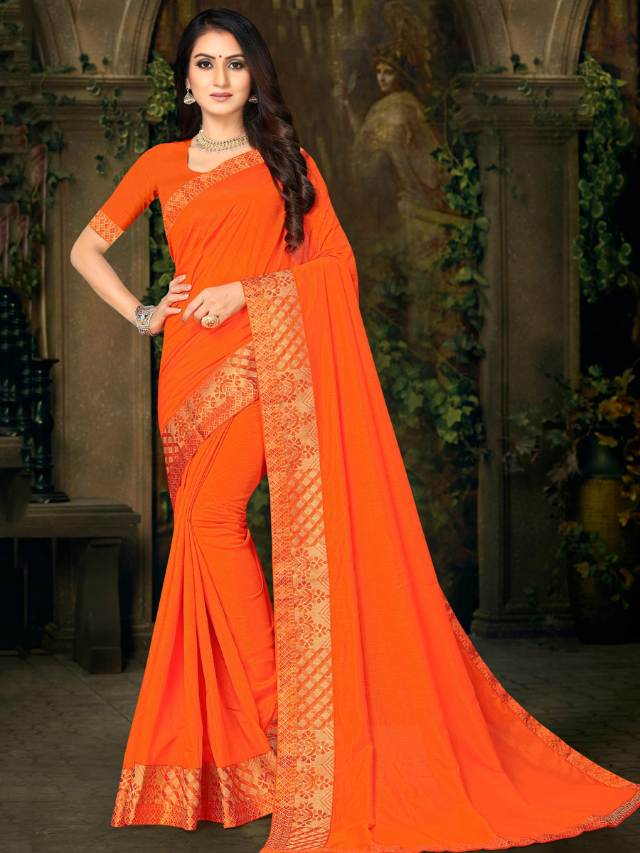 Pumpkin Orange Vichitra Silk Plain Casual Saree