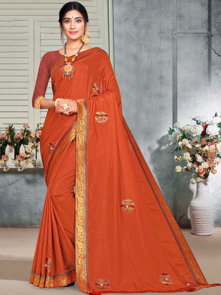 Burnt Orange Vichitra Silk Handwoven Casual Saree