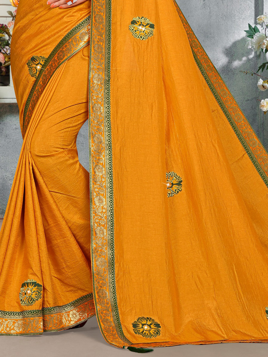 Mustard Yellow Vichitra Silk Handwoven Casual Saree