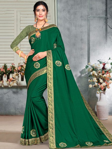 Dark Green Vichitra Silk Handwoven Casual Saree