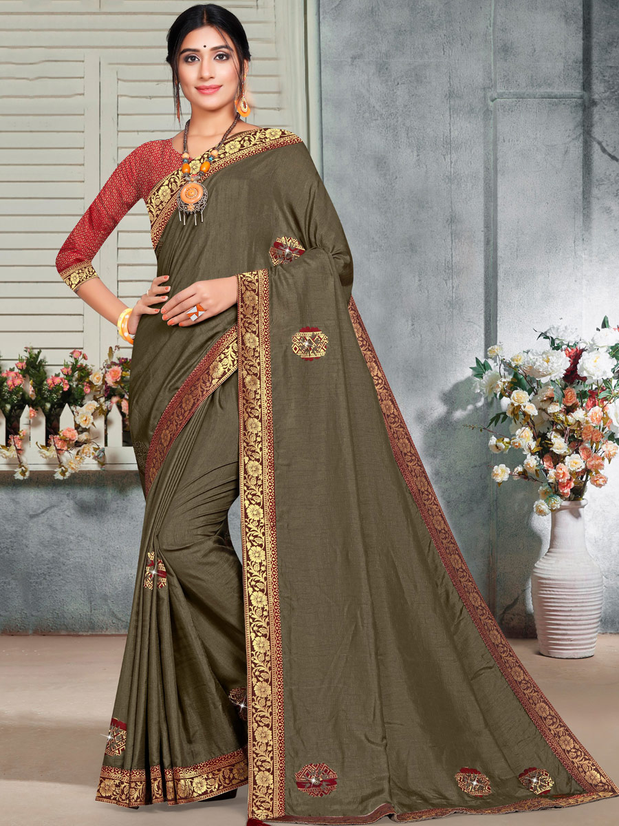Taupe Brown Vichitra Silk Handwoven Casual Saree