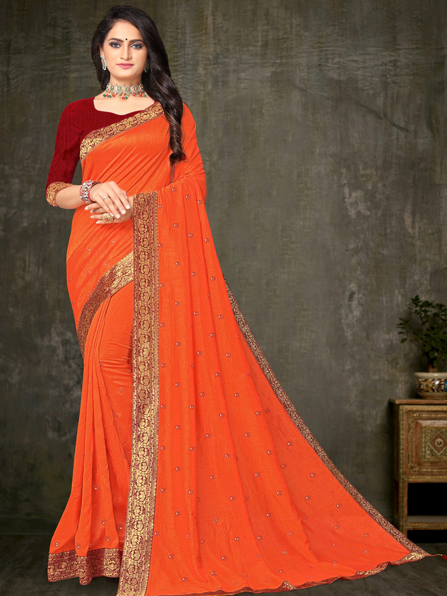 Portland Orange Vichitra Silk Handwoven Festival Saree