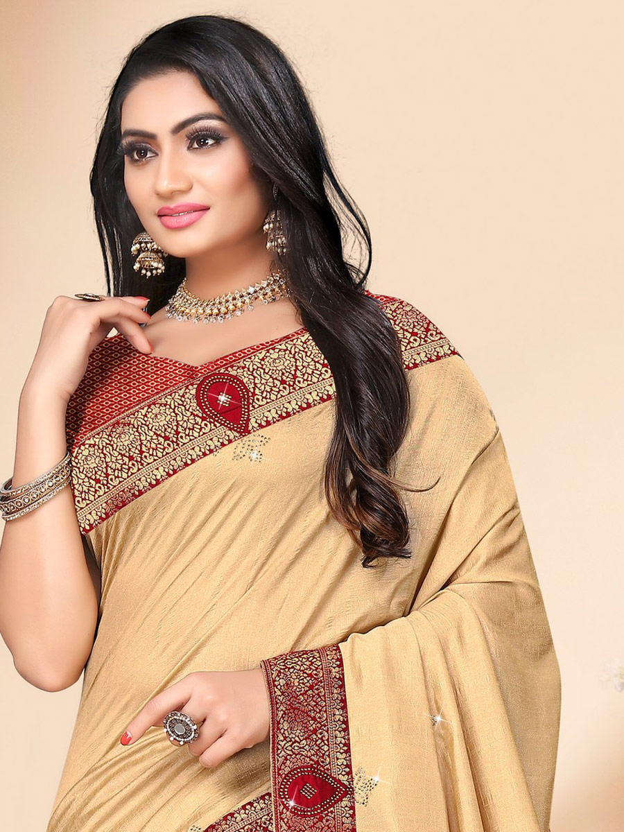Beige Yellow Vichitra Silk Plain Casual Saree