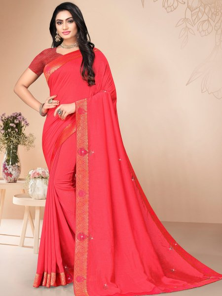 Amaranth Red Vichitra Silk Plain Casual Saree