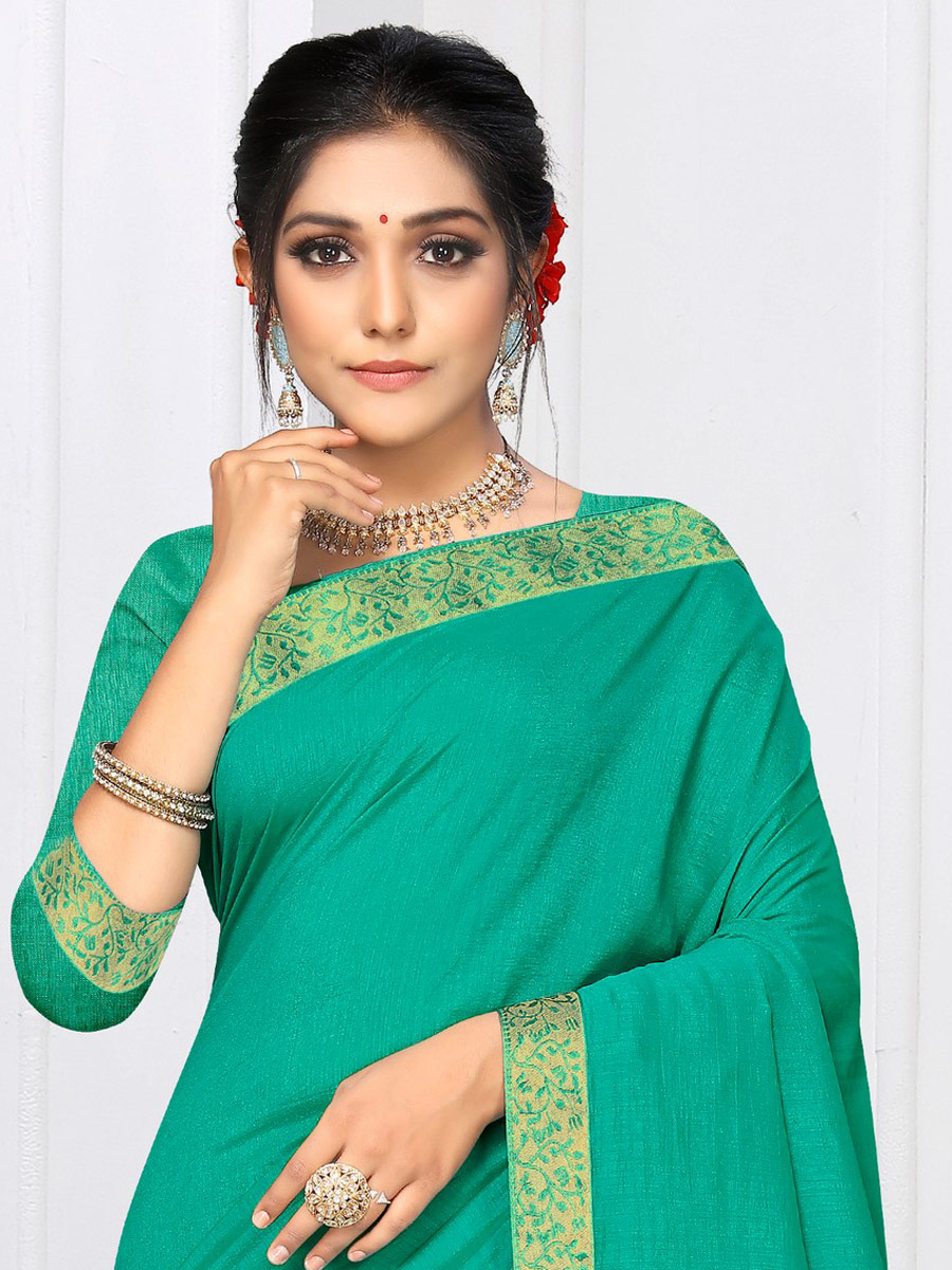 Jungle Green Vichitra Silk Plain Casual Saree