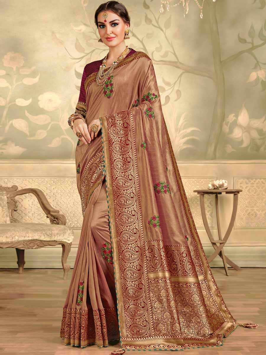 Chestnut Red Silk Embroidered Festival Saree