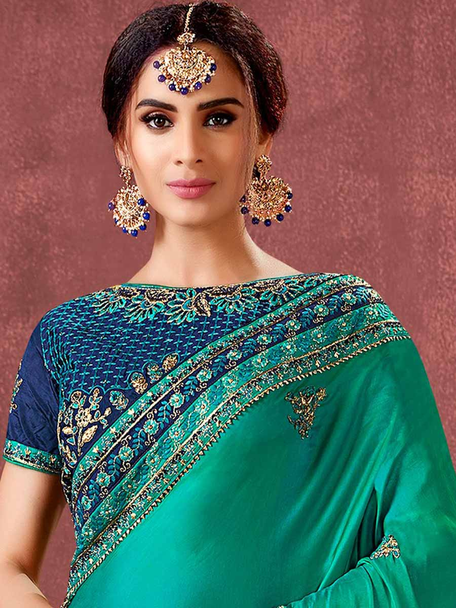 Persian Green and Navy Blue Silk Embroidered Party Saree