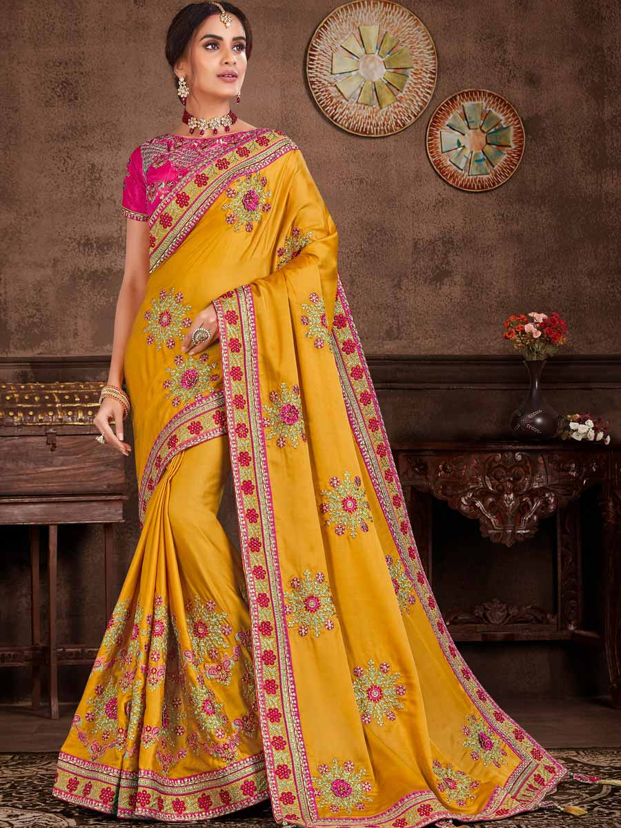 Mustard Yellow Silk Embroidered Party Saree