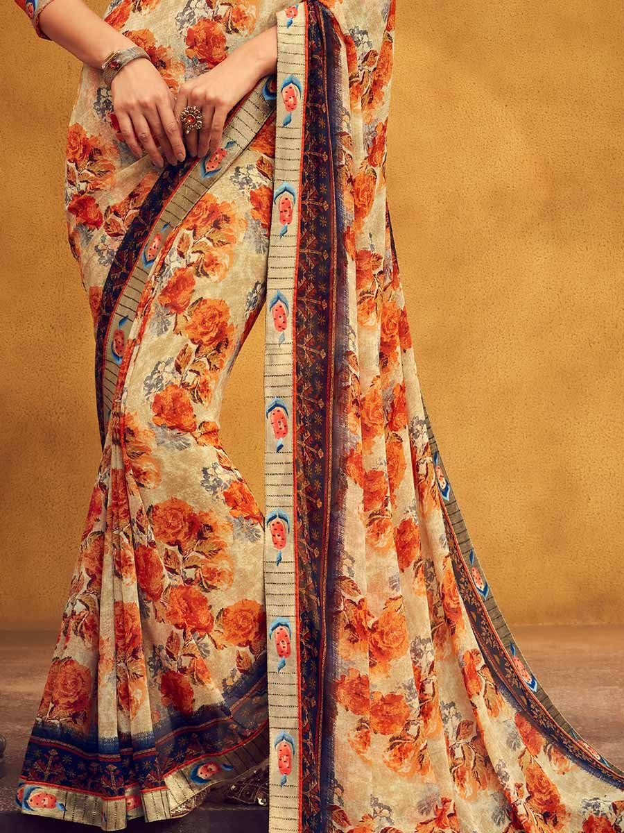 Beige Yellow Faux Georgette Printed Casual Saree