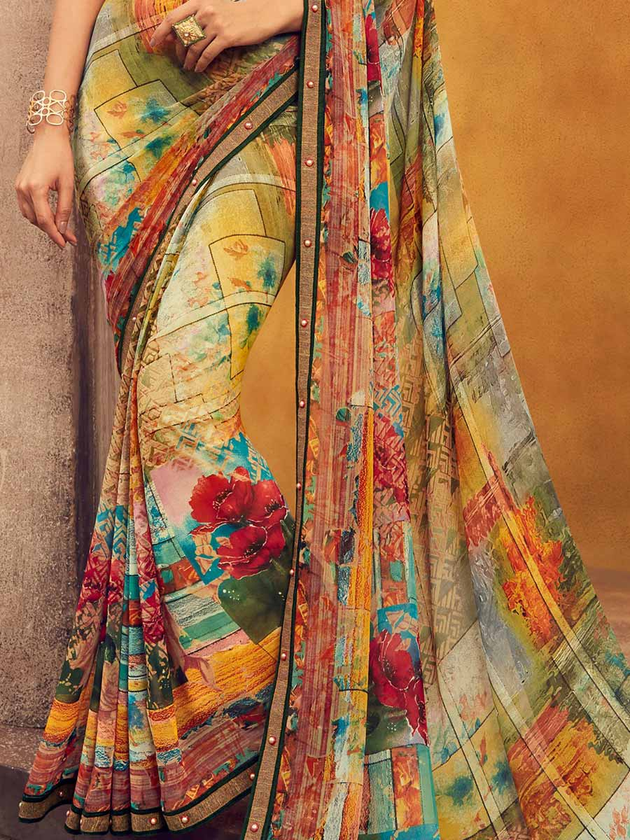 Tea Green Faux Georgette Printed Casual Saree
