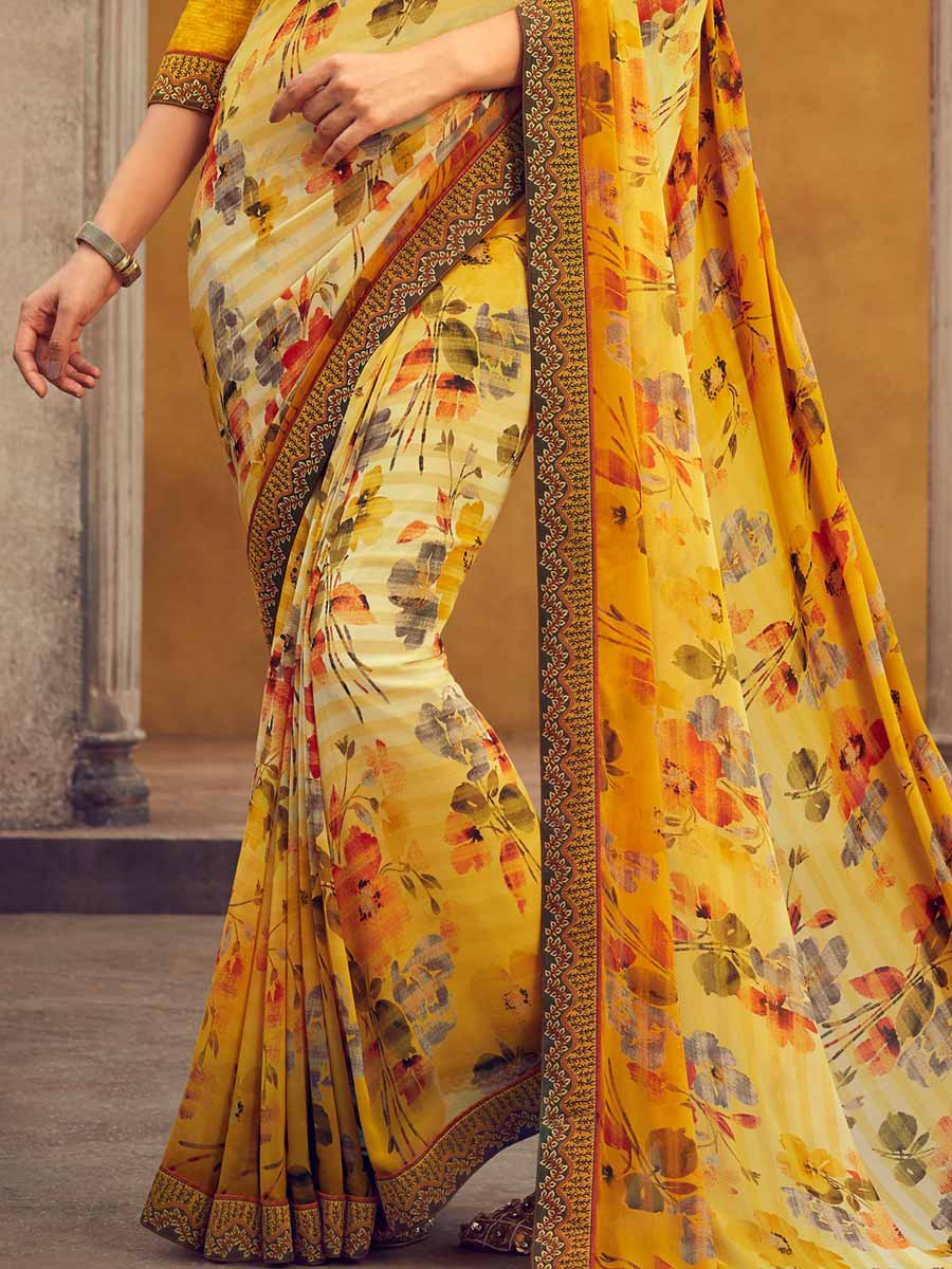 Saffron Yellow Faux Georgette Printed Casual Saree