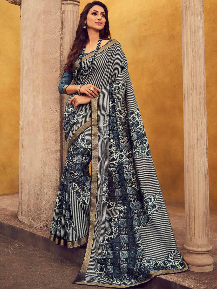 Dark Gray Faux Georgette Printed Casual Saree