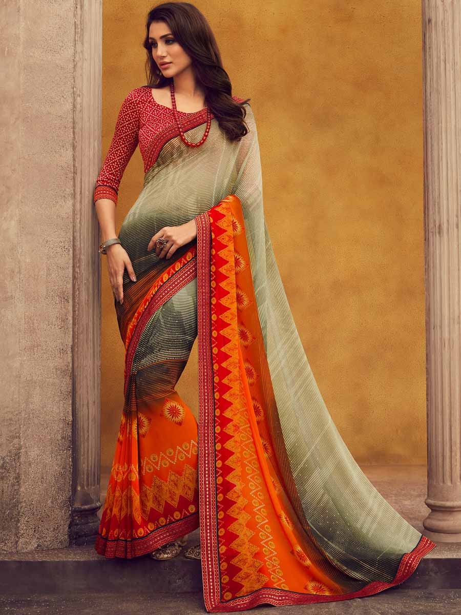 Pumpkin Orange and Off-White Faux Georgette Printed Casual Saree