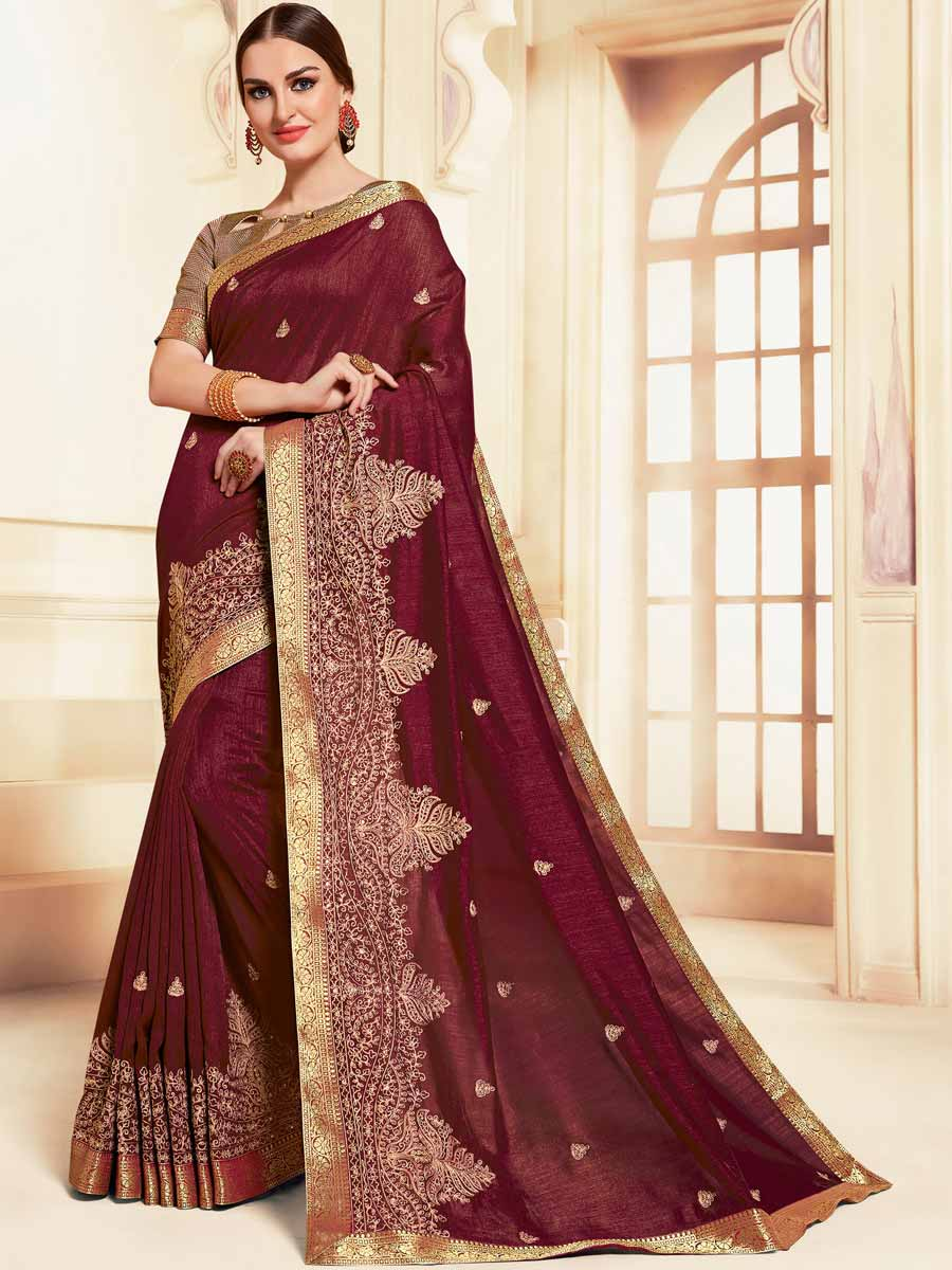 Burgundy Red Silk Embroidered Party Saree