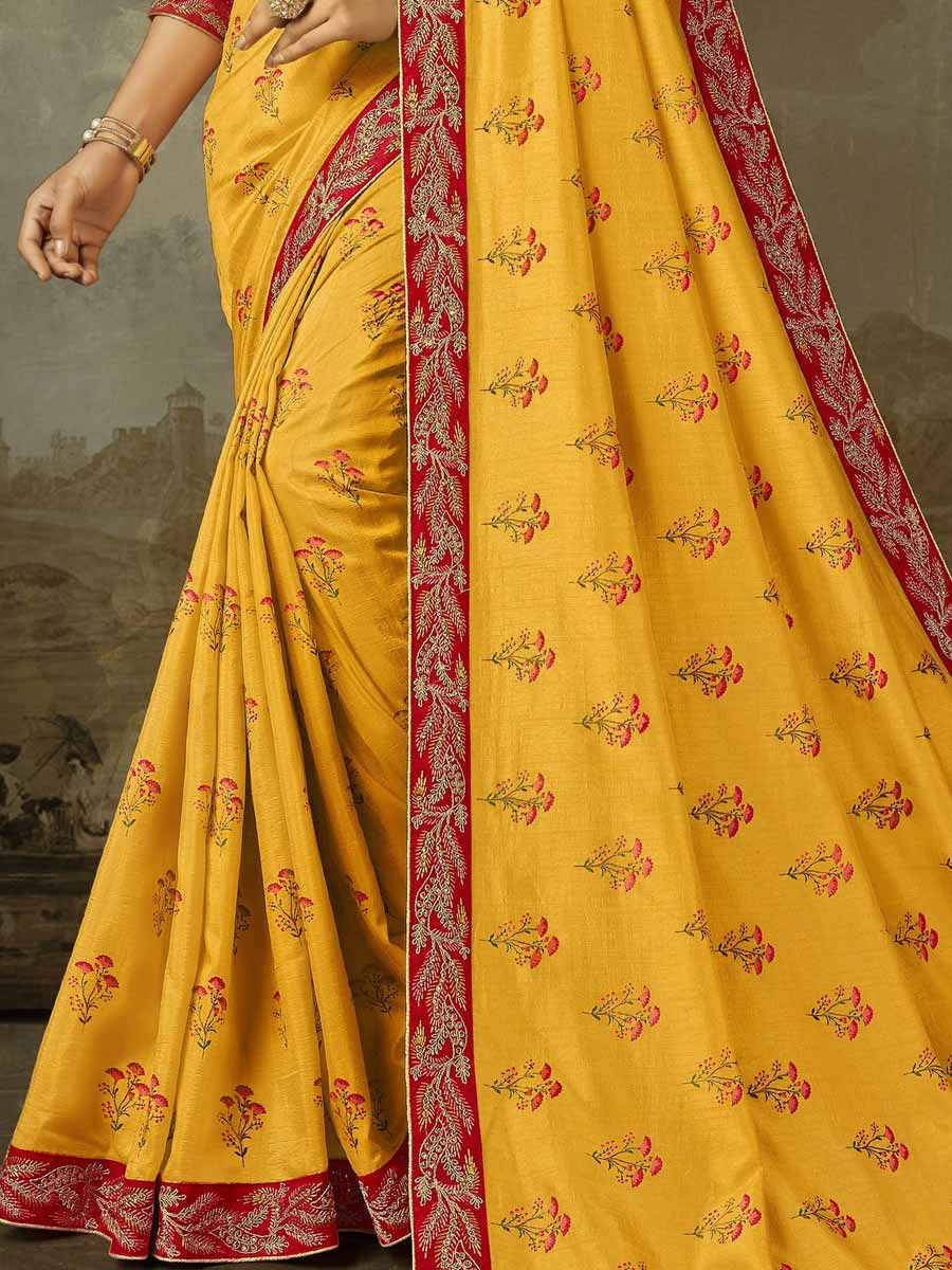 Saffron Yellow Silk Embroidered Festival Saree