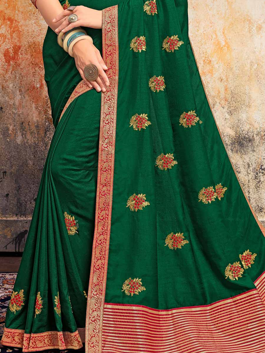 Hunter Green Silk Embroidered Festival Saree