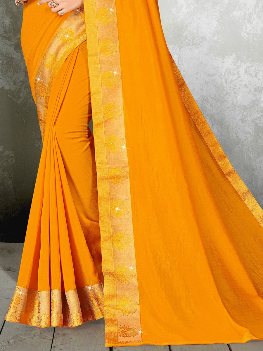 Gamboge Yellow Vichitra Silk Plain Casual Saree