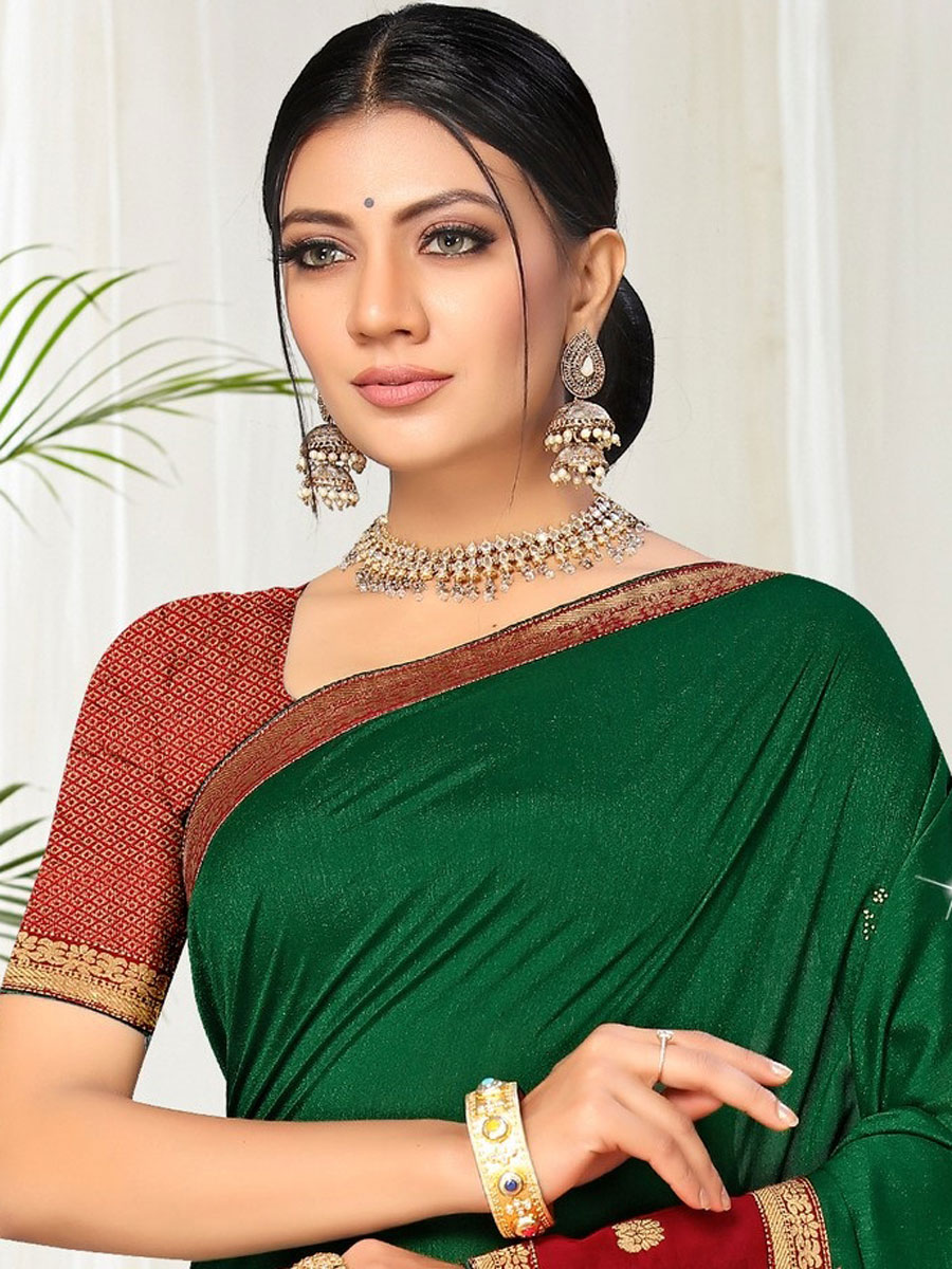 Dark Green Vichitra Silk Plain Casual Saree