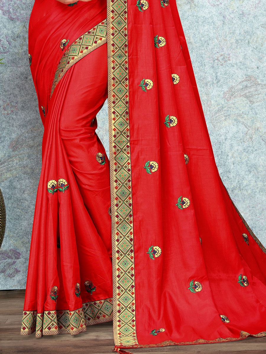 Rose Madder Red Vichitra Silk Plain Casual Sree