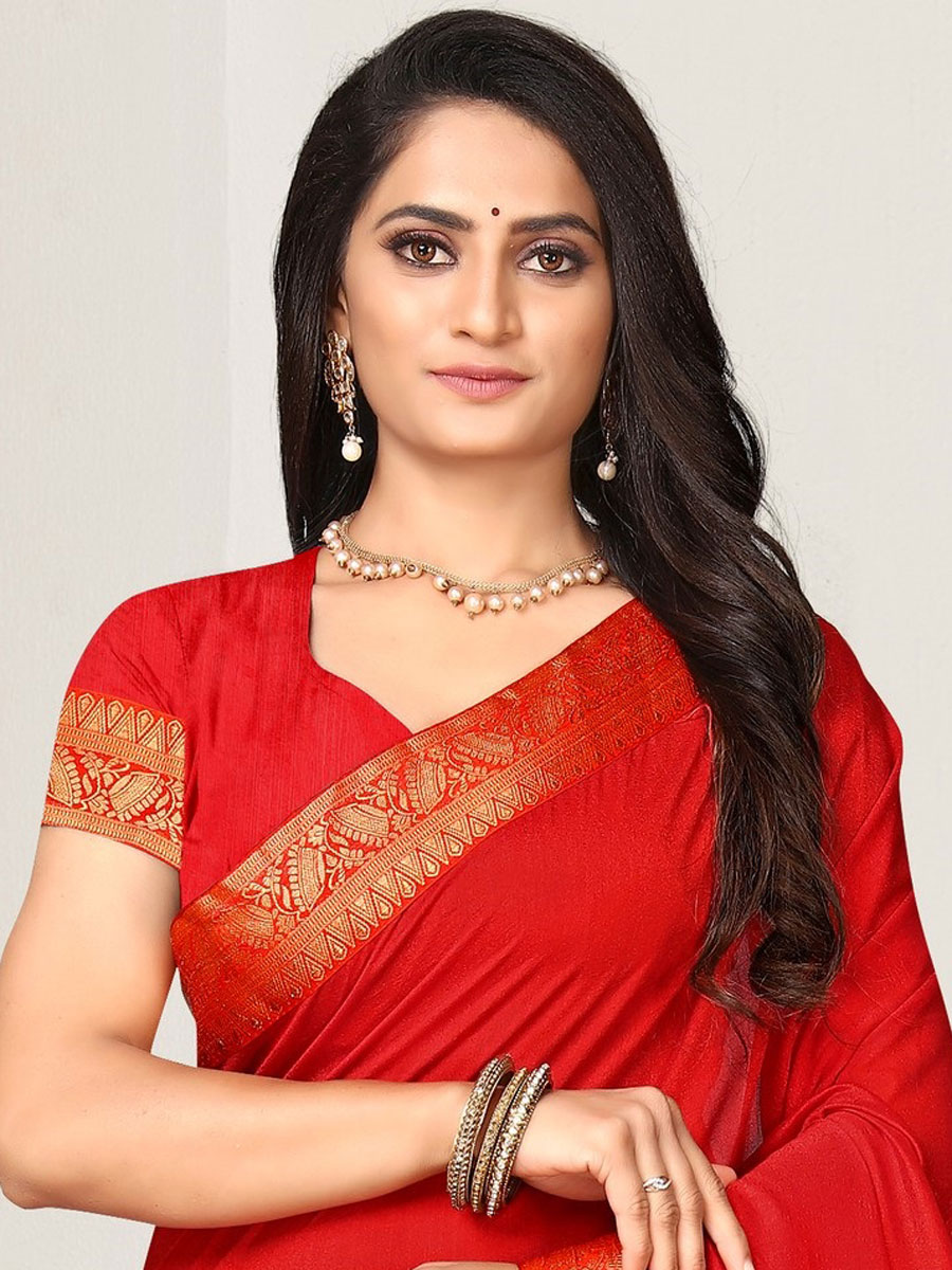 Rose Madder Red Vichitra Silk Plain Casual Saree