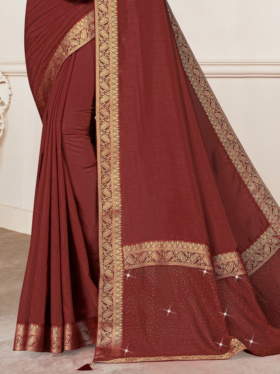 Maroon Vichitra Silk Plain Casual Saree