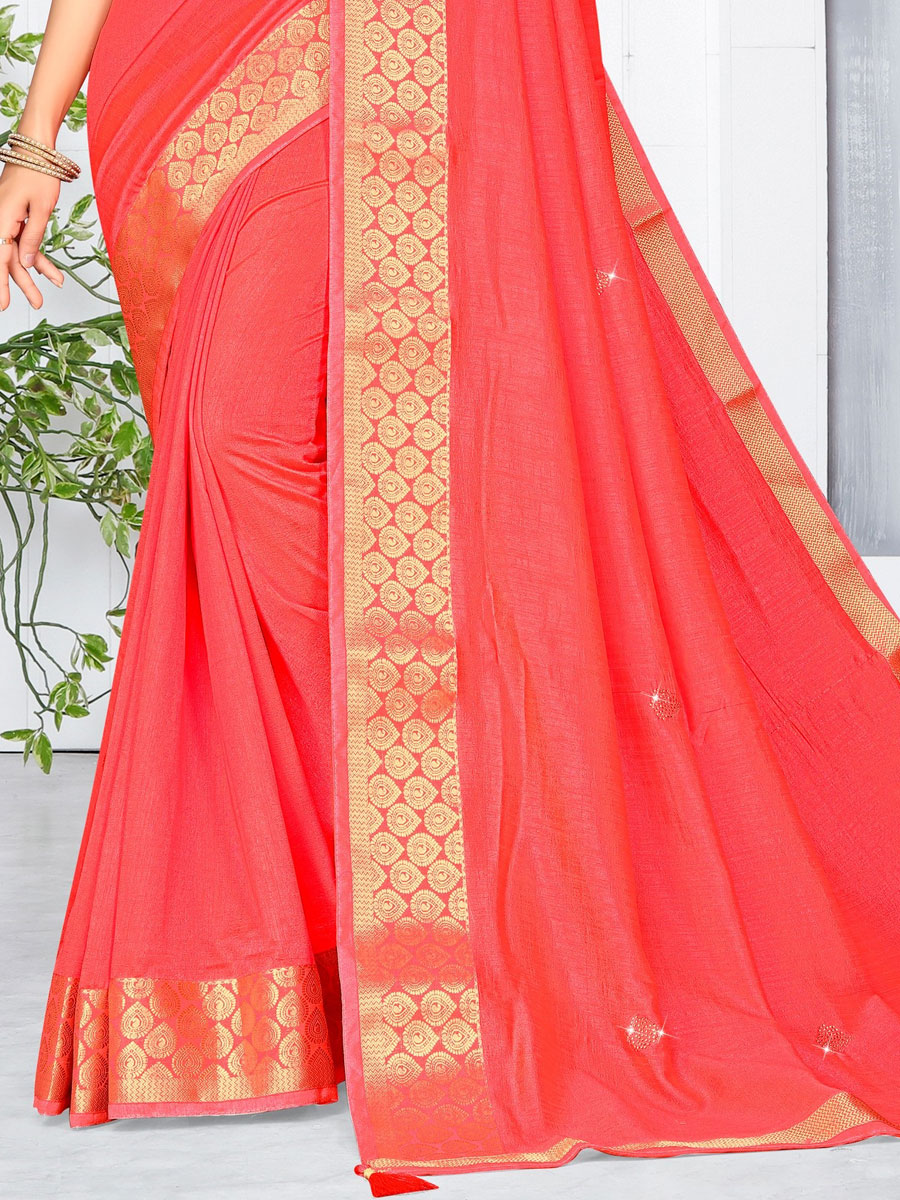 Carmine Pink Vichitra Silk Plain Casual Saree