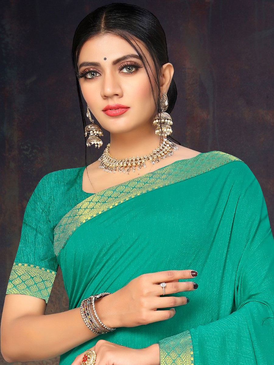 Persian Green Vichitra Silk Plain Casual Saree