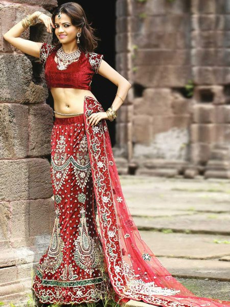 Carnelian Red Velvet and Satin Embroidered Wedding Lehenga Choli