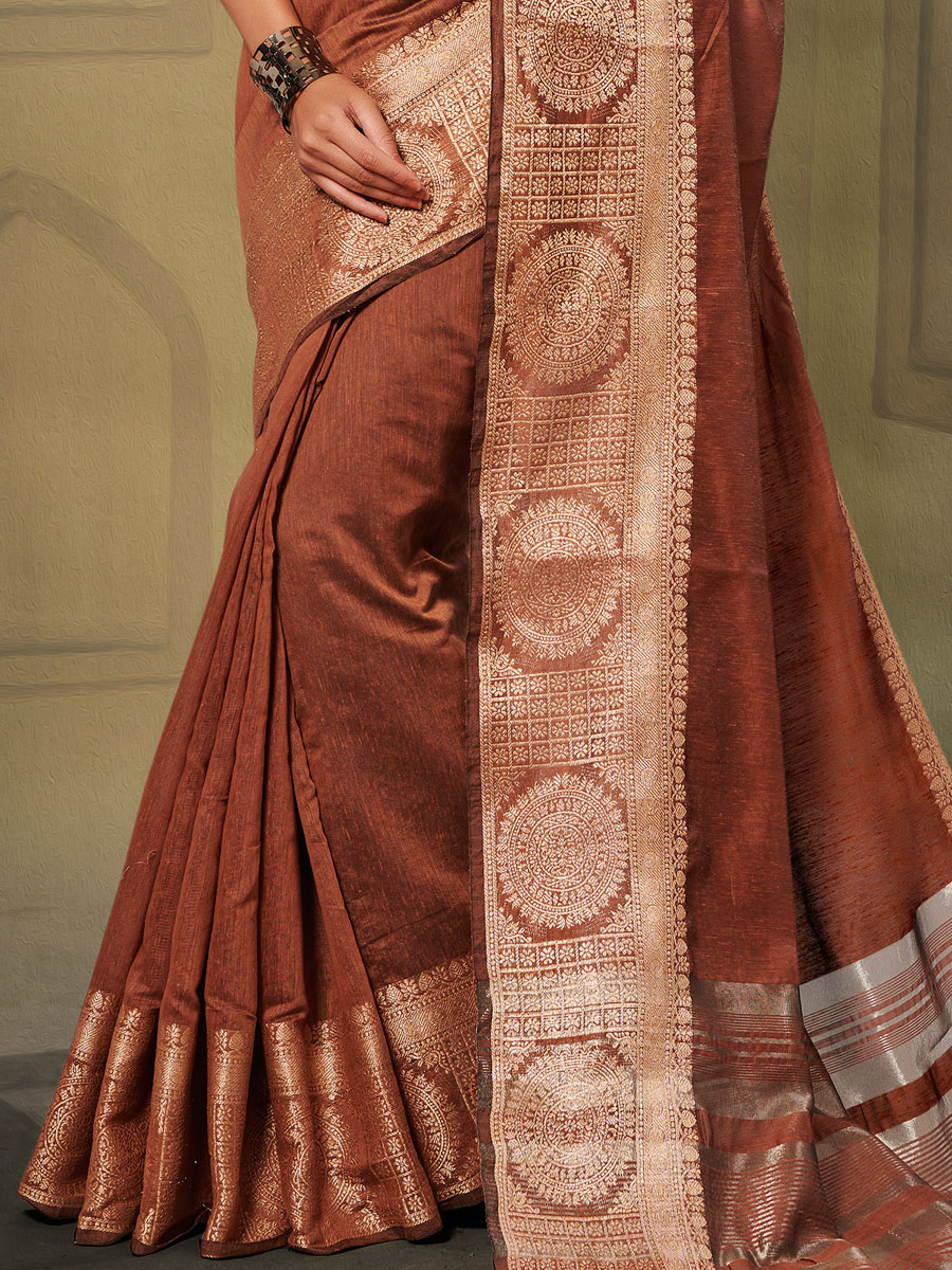 Sienna Brown Linen Handwoven Casual Saree