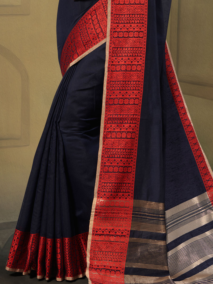 Navy Blue Linen Handwoven Casual Saree