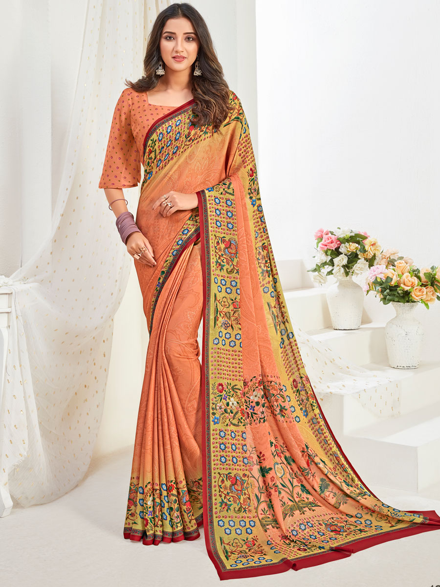 Coral Orange Crepe Silk Printed Party Saree