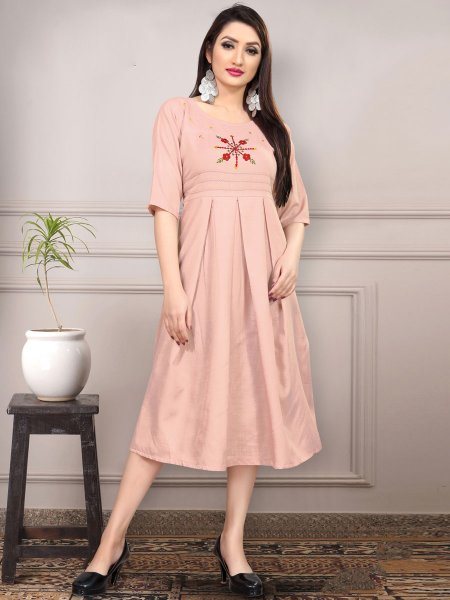 Tea Rose Pink Cotton Embroidered Party Kurti