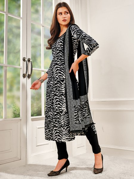 Black Crepe Silk Printed Casual Churidar Pant Kameez