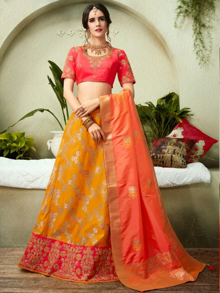 Pumpkin Orange Jacquard Silk Embroidered Festival Lehenga Choli