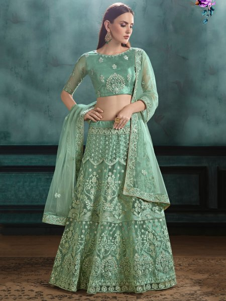 Viridian Green Net Embroidered Festival Lehenga Choli