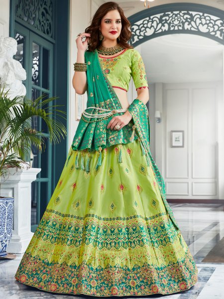 Yellow-Green Jacquard Silk Embroidered Festival Lehenga Choli