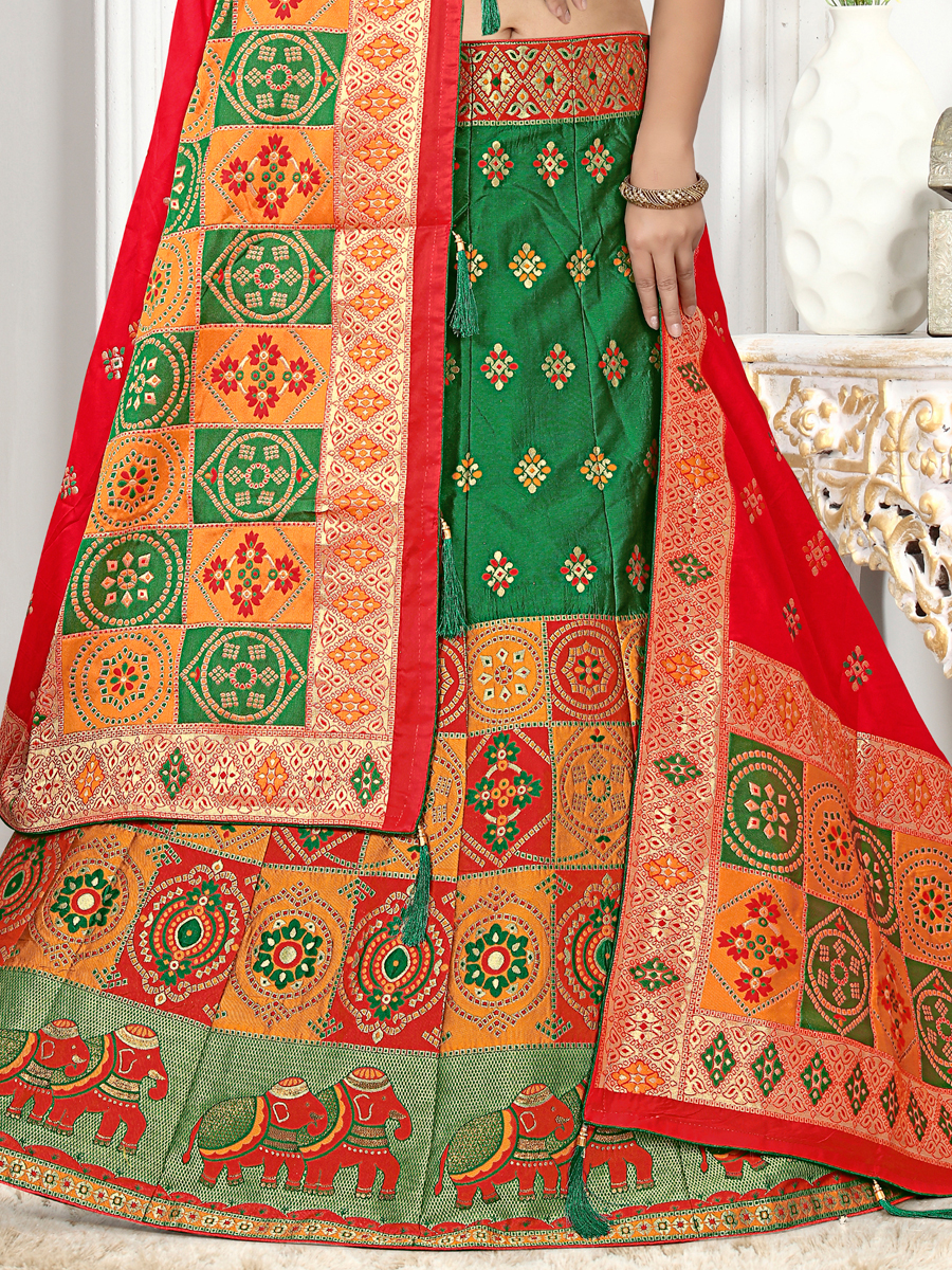 Dark Green Jacquard Silk Embroidered Festival Lehenga Choli